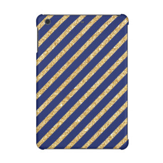 Navy Blue and Gold Glitter Diagonal Stripe Pattern iPad Mini Retina Case