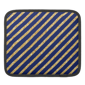 Navy Blue and Gold Glitter Diagonal Stripe Pattern iPad Sleeve