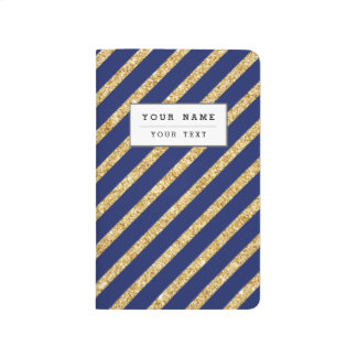 Navy Blue and Gold Glitter Diagonal Stripe Pattern Journal