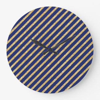 Navy Blue and Gold Glitter Diagonal Stripe Pattern Large Clock