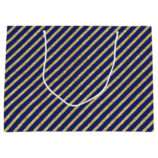 Navy Blue and Gold Glitter Diagonal Stripe Pattern Large Gift Bag