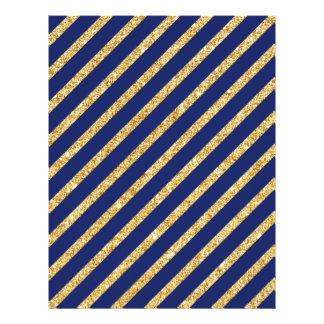 Navy Blue and Gold Glitter Diagonal Stripe Pattern Letterhead