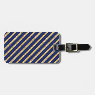 Navy Blue and Gold Glitter Diagonal Stripe Pattern Luggage Tag