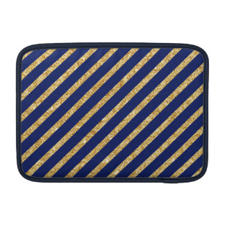 Navy Blue and Gold Glitter Diagonal Stripe Pattern MacBook Air Sleeves