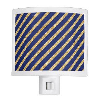 Navy Blue and Gold Glitter Diagonal Stripe Pattern Night Lite