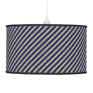 Navy Blue and Gold Glitter Diagonal Stripe Pattern Pendant Lamp