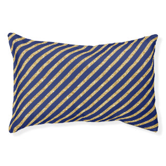 Navy Blue and Gold Glitter Diagonal Stripe Pattern Pet Bed