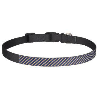 Navy Blue and Gold Glitter Diagonal Stripe Pattern Pet Collar