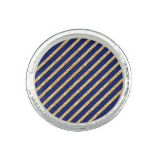 Navy Blue and Gold Glitter Diagonal Stripe Pattern Photo Rings
