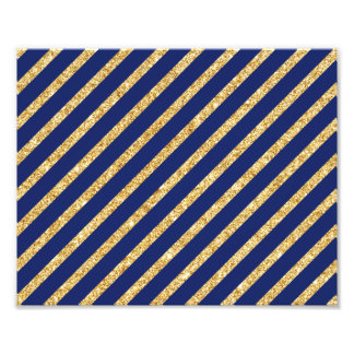 Navy Blue and Gold Glitter Diagonal Stripe Pattern Photographic Print