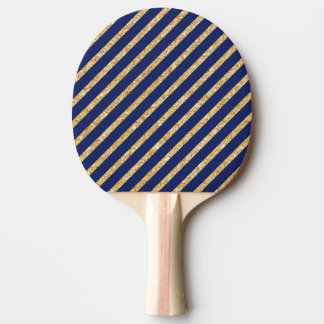 Navy Blue and Gold Glitter Diagonal Stripe Pattern Ping Pong Paddle