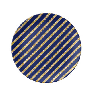Navy Blue and Gold Glitter Diagonal Stripe Pattern Plate