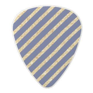Navy Blue and Gold Glitter Diagonal Stripe Pattern Polycarbonate Guitar Pick