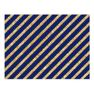 Navy Blue and Gold Glitter Diagonal Stripe Pattern Postcard