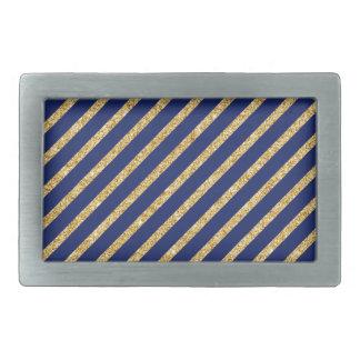Navy Blue and Gold Glitter Diagonal Stripe Pattern Rectangular Belt Buckles