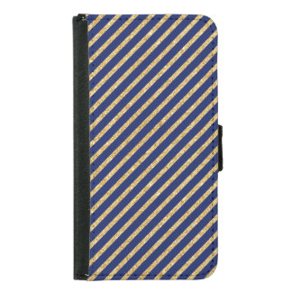 Navy Blue and Gold Glitter Diagonal Stripe Pattern Samsung Galaxy S5 Wallet Case