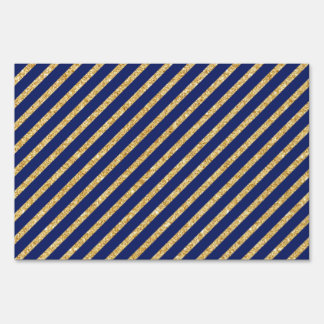 Navy Blue and Gold Glitter Diagonal Stripe Pattern Sign
