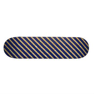 Navy Blue and Gold Glitter Diagonal Stripe Pattern Skate Boards