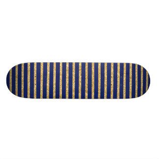 Navy Blue and Gold Glitter Diagonal Stripe Pattern Skate Decks