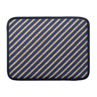 Navy Blue and Gold Glitter Diagonal Stripe Pattern Sleeves For MacBook Air