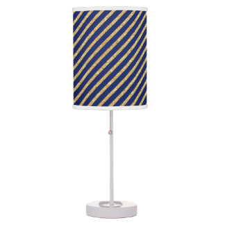 Navy Blue and Gold Glitter Diagonal Stripe Pattern Table Lamp