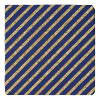 Navy Blue and Gold Glitter Diagonal Stripe Pattern Trivet