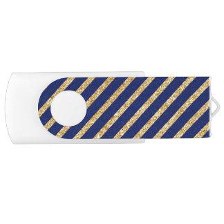 Navy Blue and Gold Glitter Diagonal Stripe Pattern USB Flash Drive