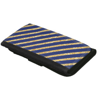 Navy Blue and Gold Glitter Diagonal Stripe Pattern Wallets