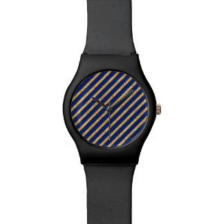 Navy Blue and Gold Glitter Diagonal Stripe Pattern Watch