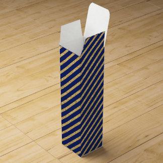 Navy Blue and Gold Glitter Diagonal Stripe Pattern Wine Box