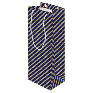 Navy Blue and Gold Glitter Diagonal Stripe Pattern Wine Gift Bag