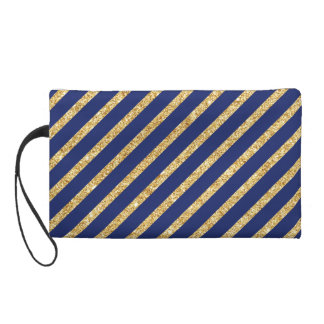 Navy Blue and Gold Glitter Diagonal Stripe Pattern Wristlet