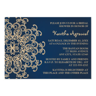 "Navy Blue and Gold Indian Style Bridal Shower 5"" X 7"" Invitation Card"
