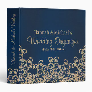 Navy Blue and Gold Indian Style Wedding Planner Vinyl Binder