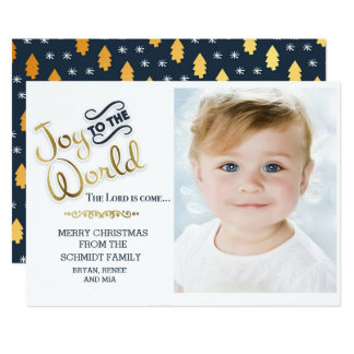 Navy Blue and Gold Joy to World Photo Christmas Card