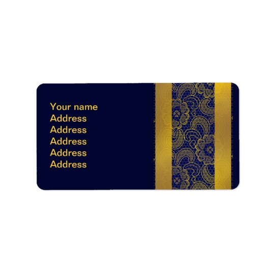Navy Blue and Gold Lace Wedding Label