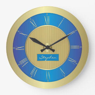 Navy blue and gold large clock