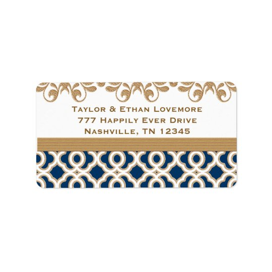 Navy Blue and Gold Return Address Labels Custom