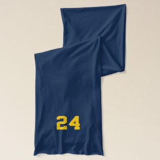 Navy Blue and Gold School Spirit Personalized Team Scarf