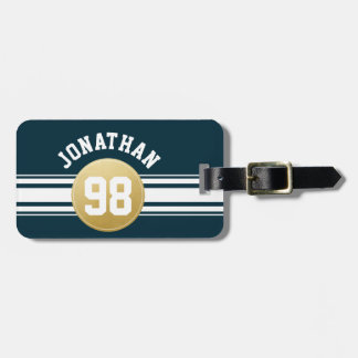 Navy Blue and Gold Sports Jersey Stripes Name Luggage Tag