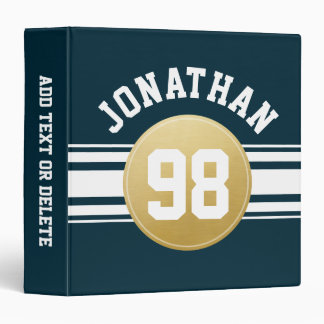 Navy Blue and Gold Sports Jersey Stripes Name Vinyl Binder