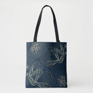 Navy blue and golden butterflies pattern tote bag