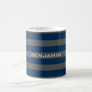 Navy Blue and Gray Rugby Stripes with Custom Name Coffee Mug