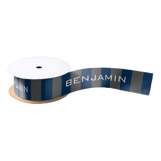 Navy Blue and Gray Rugby Stripes with Custom Name Satin Ribbon