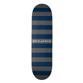 Navy Blue and Gray Rugby Stripes with Custom Name Skate Deck