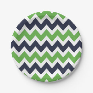 Navy Blue and Green Chevron 7 Inch Paper Plate