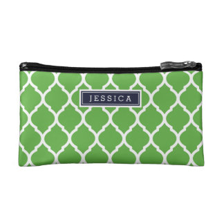 Navy Blue and Green Moroccan Quatrefoil Monogram Makeup Bags