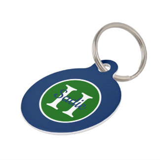 Navy Blue and Green Polka Dot Monogram Pet ID Tag