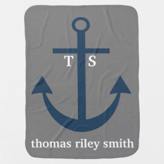 Navy Blue and Grey Anchor Monogram Nursery Blanket