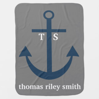 Navy Blue and Grey Anchor Monogram Nursery Blanket Baby Blanket